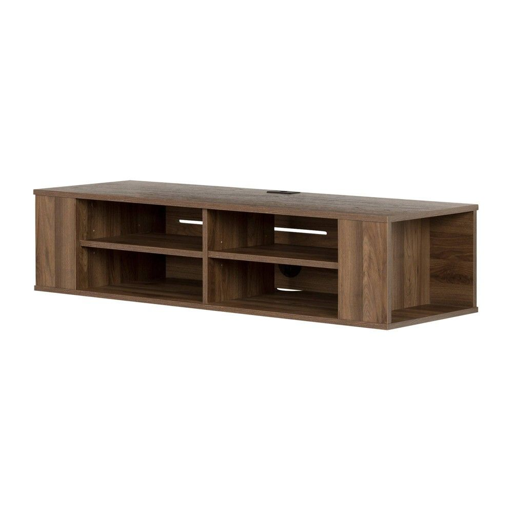 48 City Life Wall Mounted Media Console Natural Walnut South