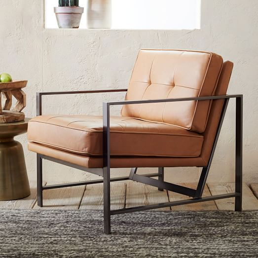 Acutal Metal Frame Tufted Leather Chair