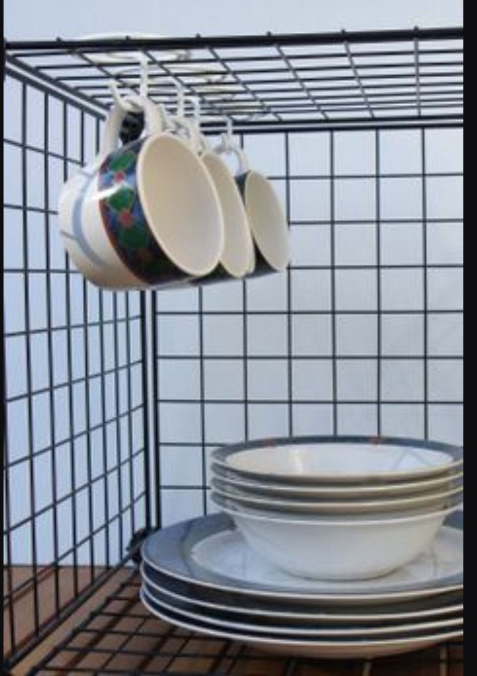 Use wire cube shelving and coat hanger hooks to hang mugs ...