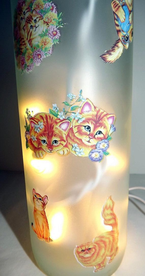 CATS GALORE Recycled Glass Bottle Accent by CanDezign on ...