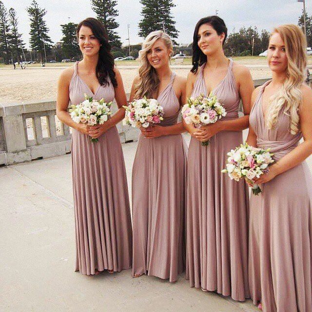 Lulu S Bridesmaids Dresses Tricks Of The Trade Taupe Maxi This Convertible Wrap Dress Is The Pe Taupe Bridesmaid Dresses Lulus Bridesmaid Dresses Bridesmaid