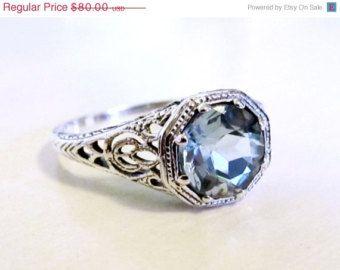 MOTHERS DAY SALE Aquamarine Sterling Silver Filigree Engagement Ring Size 8/ Antique Vintage Art Deco