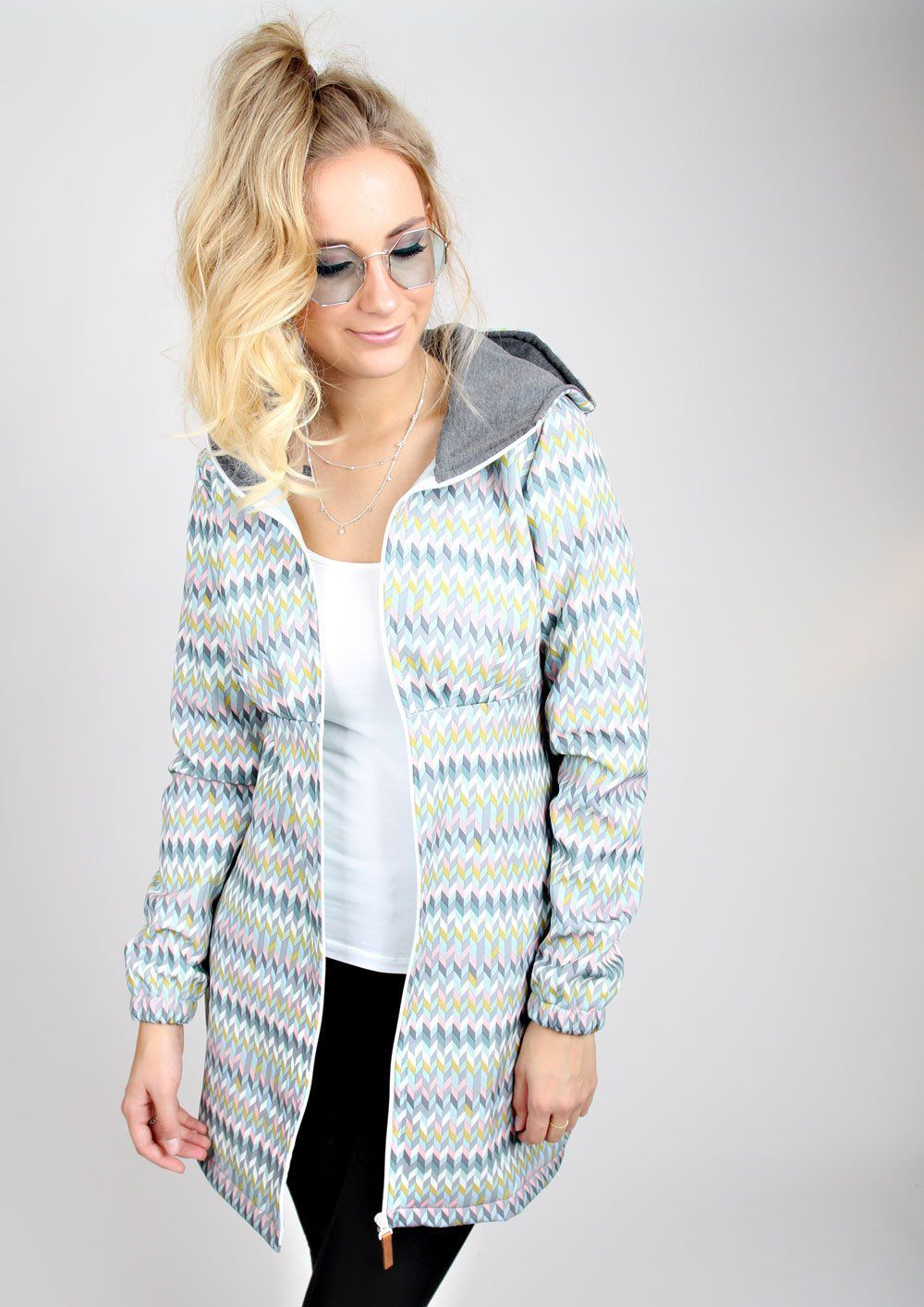 Meko Surf Coat Womens Grey Mint Softshell Winter Meko Chevron