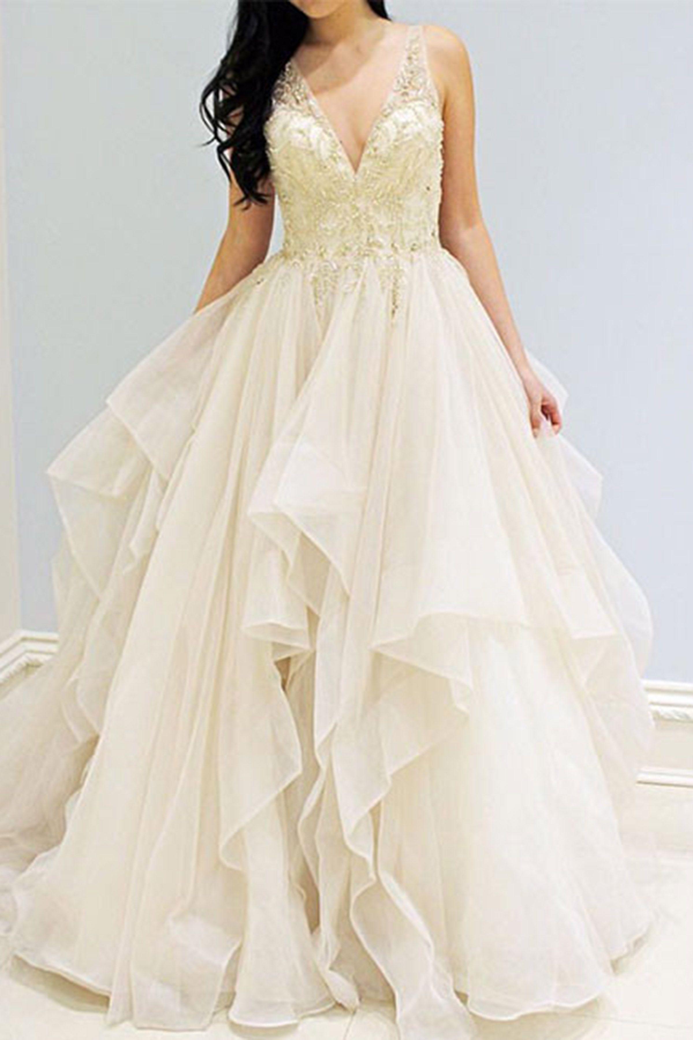 Beautiful ivory organza prom dress ball gowns wedding dress