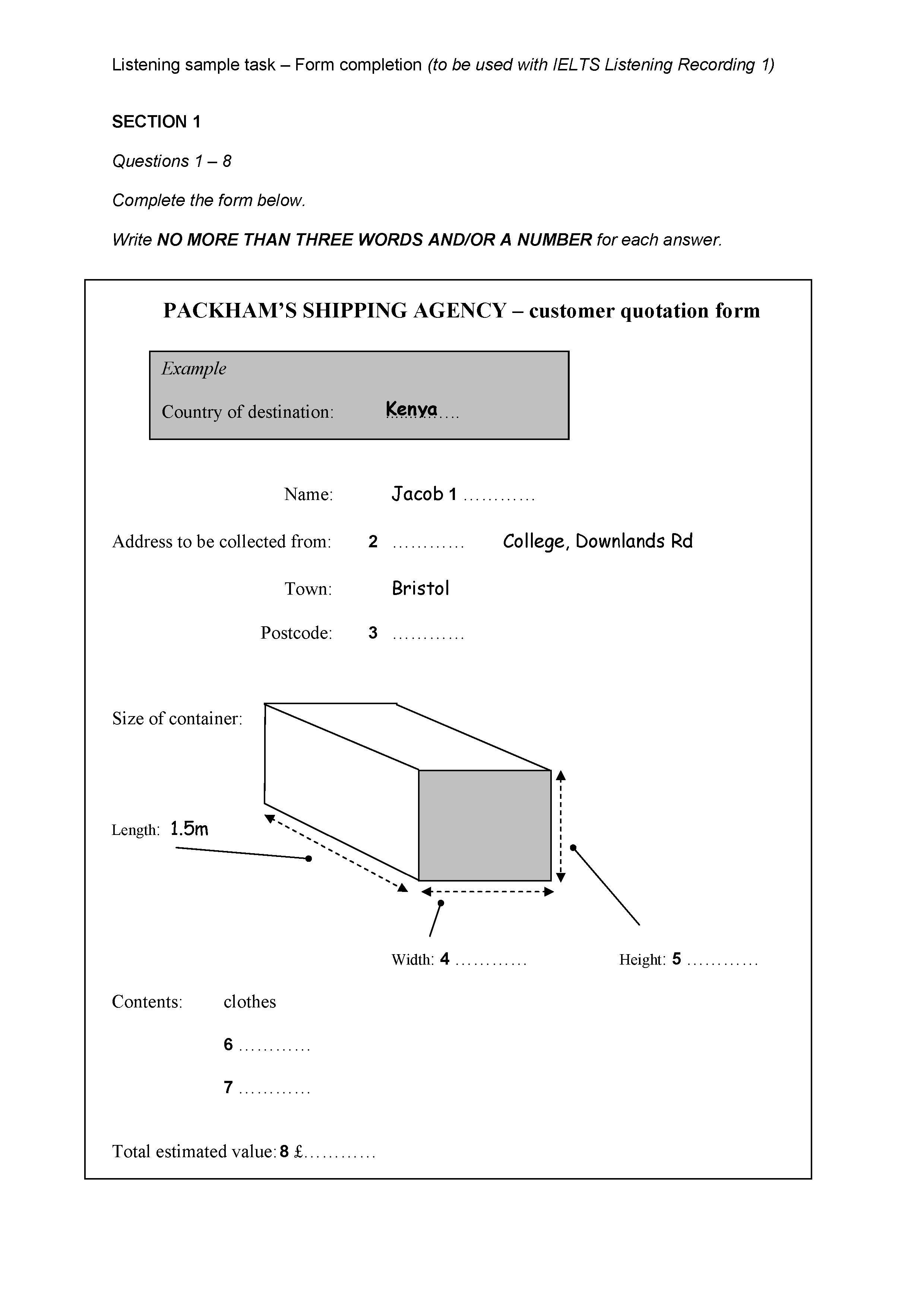 Ielts Listening Sample Task Form Completion