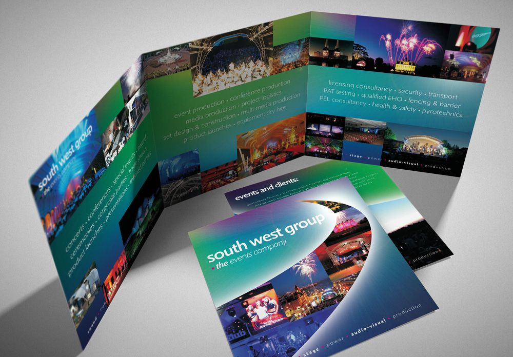 Events Company Glossy Folded Brochure Design  Branding  Lunatrix