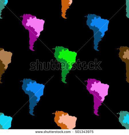 Map Of South America Latin America Brazil Seamless pattern