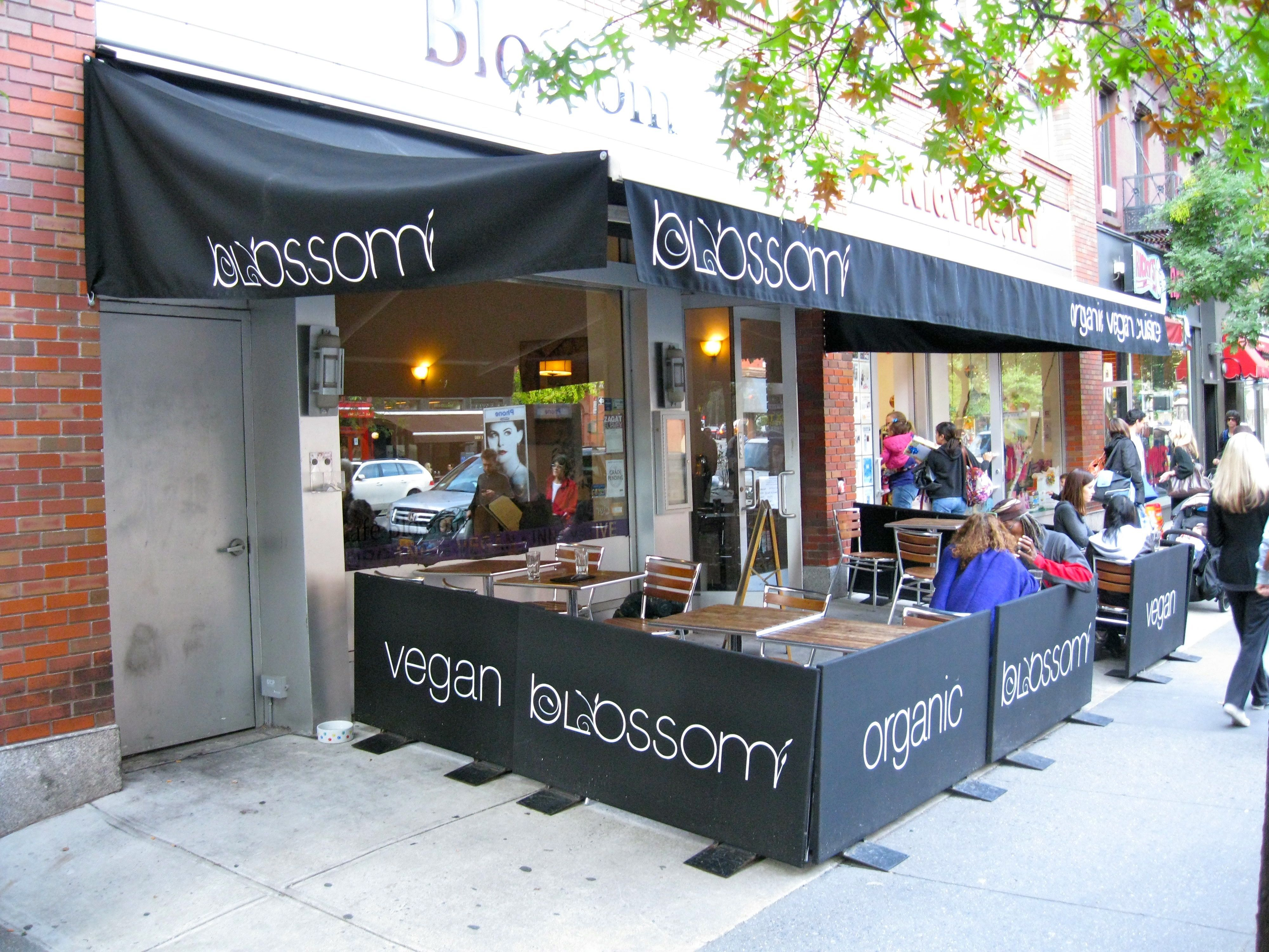 Front of cafe blossom in new york city cafe vegan