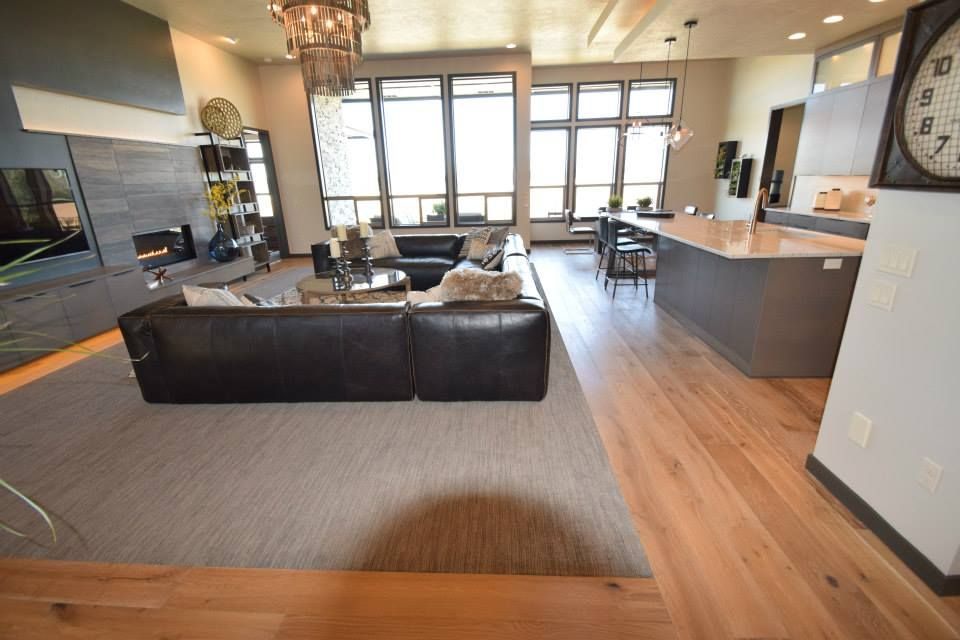 Kitchen And Livingroom Engineered Wood Flooring Bordering A Carpet Inset Contemporary Setting Engineered Wood Floors Floor Design Wooden Flooring