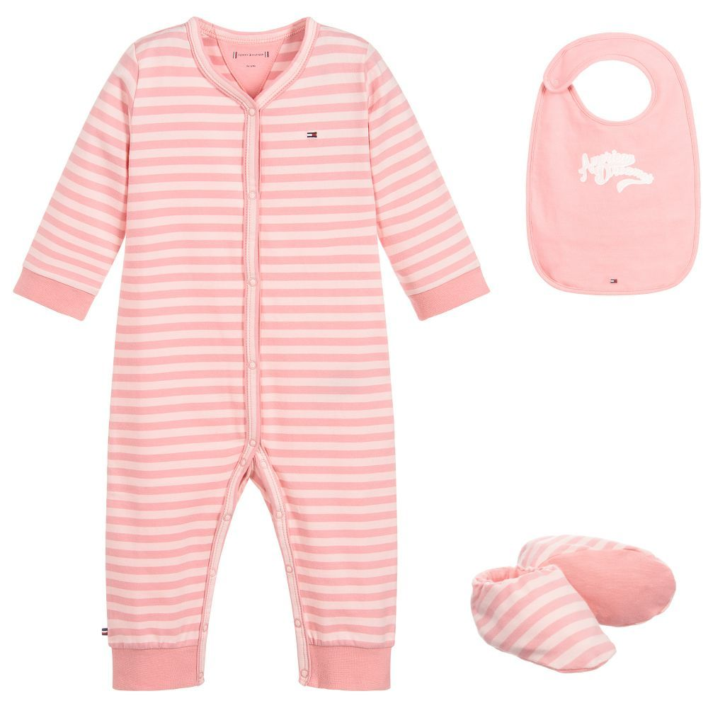 95724a54d Girls Pink Babygrow Gift Set | L&C Drop off gifts | Tommy hilfiger ...
