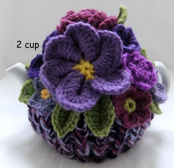 Hand Knitted Pretty Purples Blossom Basket - 2 cup floral ...