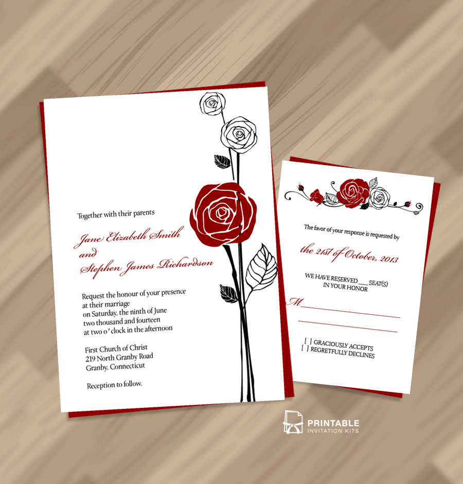 FREE PDF Download Red Rose Invitation and RSVP Easy to edit and – Red Rose Wedding Invitation