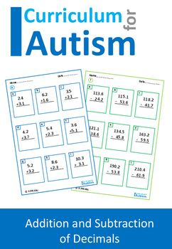 Decimals Addition Subtraction Autism Special Education | Middle ...