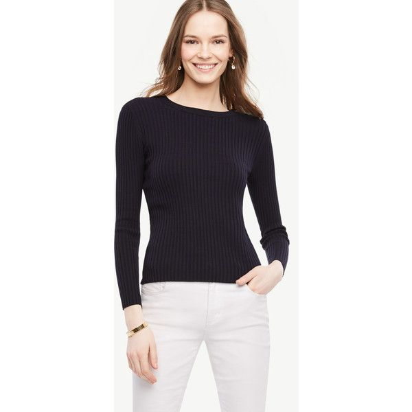 Ann Taylor Shoulder Button Ribbed Sweater ($65) ❤ liked on