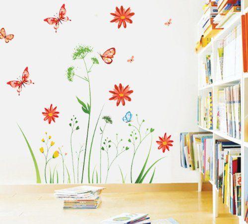 Superb Wandtattoo Bunte Blume Pflanzen Schmetterling Wandmotiv Bord ren Schlafzimmer Sofa im Wohnzimmer TV Wandaufkleber SUNNICY http