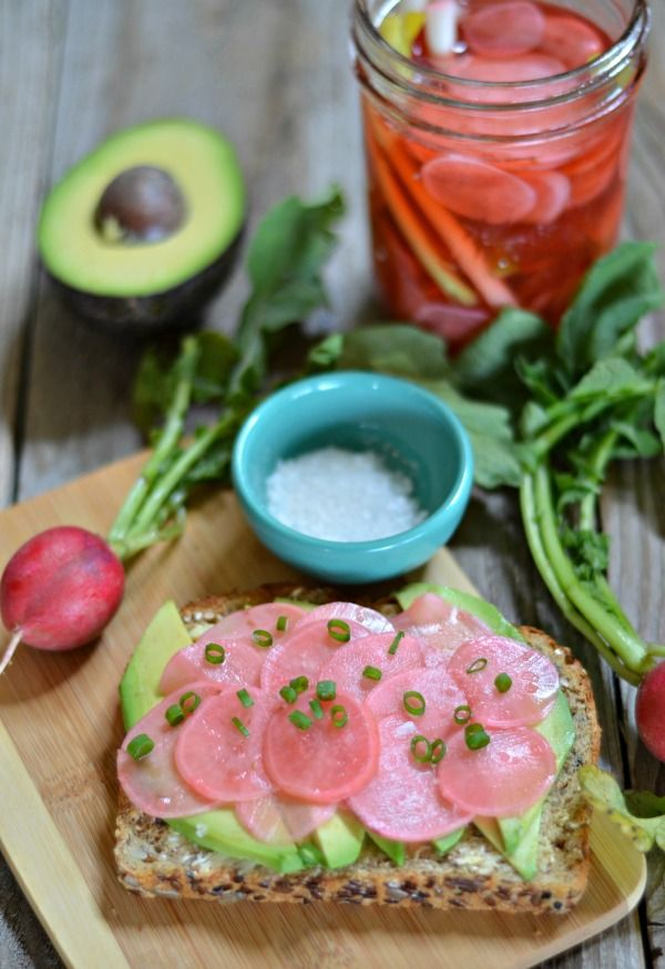 Pickled Radish Avocado Toast my spring go to lunch. Taking avocado toast to the next level!    mountainmamacooks.com