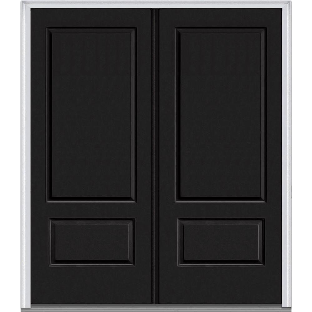 MMI Door 72 In. X 80 In. Left Hand Inswing 2 Panel Classic Painted  Fiberglass Smooth Prehung Front Door