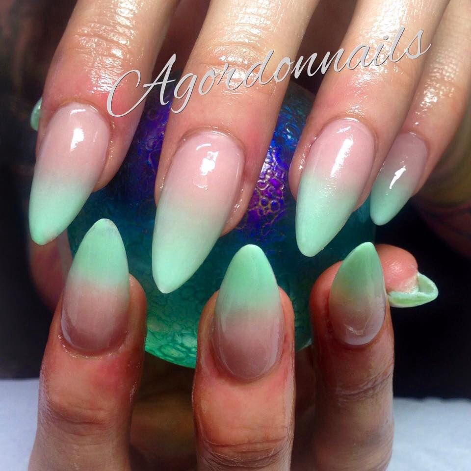 Sculpted acrylic nails, tiffany green baby boomers.... find me on ...