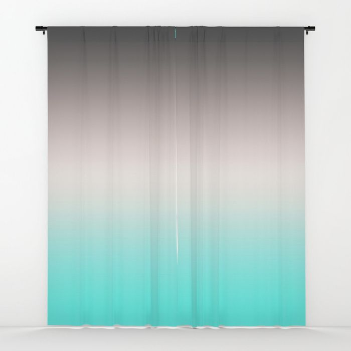 Turquoise Gray Ombre Window Curtains