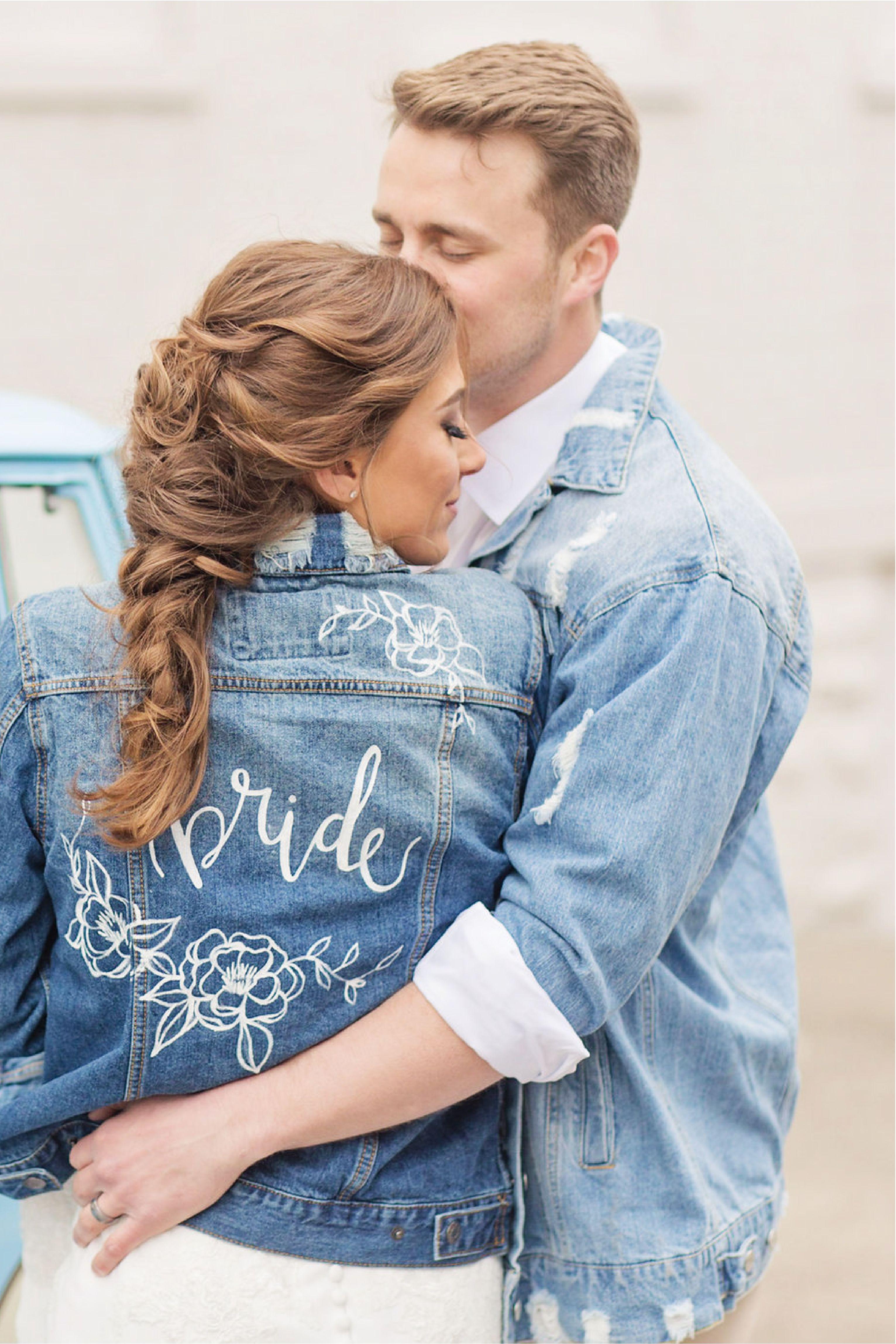 Boho wedding attire. Custom bride and groom jean jacket