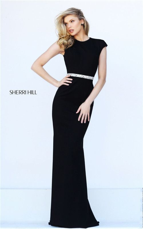 Jeweled Sherri Hill 50646 Fitted Low Back Long Black Dress Prom 2017 Elegant