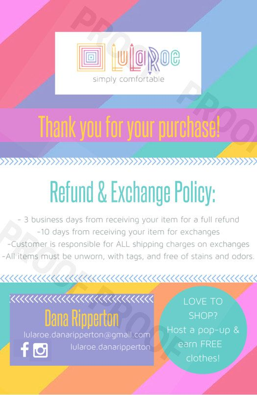 Home Office Approved Personalized Lularoe Refund  Exchange
