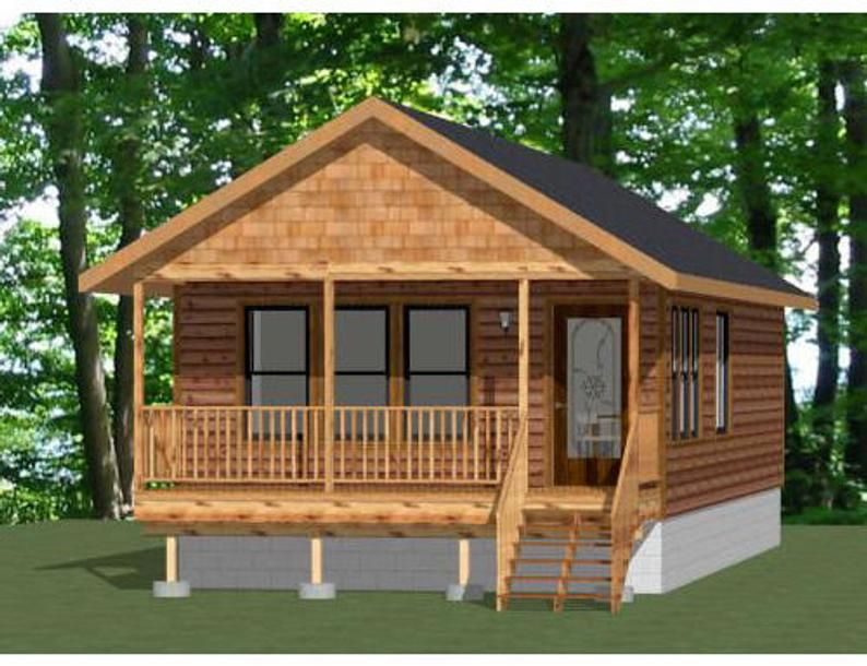 18x40 House 1 Bedroom 1 Bath 720 Sq Ft Pdf Floor Plan Instant Download Model 5i In 2020 Cottage House Designs Small Cottage Homes One Bedroom House Plans