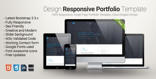 Design - One Page Portfolio Template . Design – One Page Portfolio ...