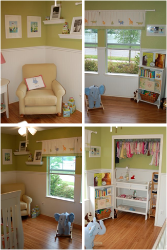 Gender neutral nursery with white panel  base and green above chair rail. Neutral or white furnishings.