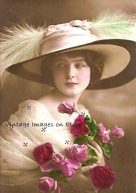 Rose  belle femme avec des Roses roses et par VintageImagesonEtsy, $1,75