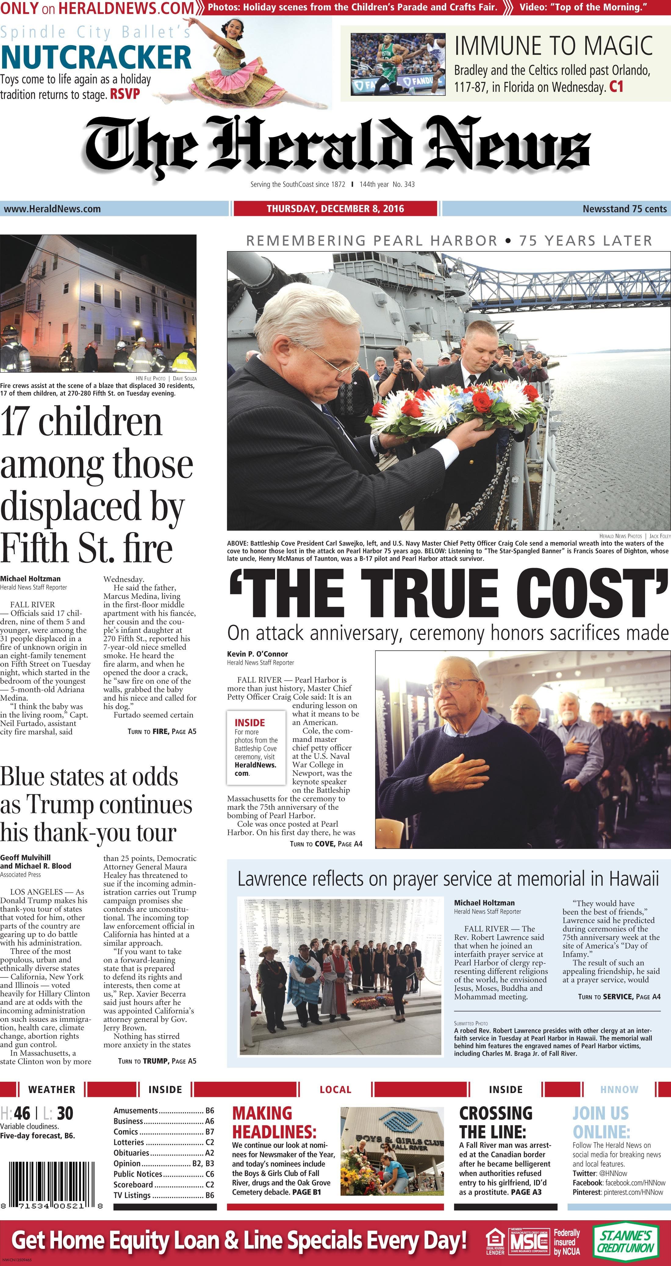 The front page of The Herald News for Thursday, Dec. 8, 8
