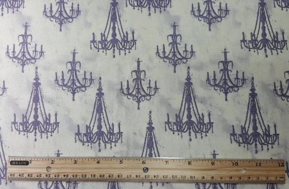 Chandelier Fabric Gray Yardage Fat Quarter FQ by HandPickedFabrics