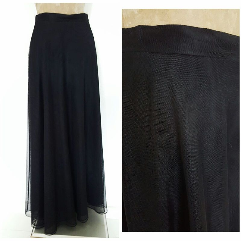 Papell Boutique Skirt Size Medium Black Tulle Nylon Long Formal Full Evening #PapellBoutique #Maxi