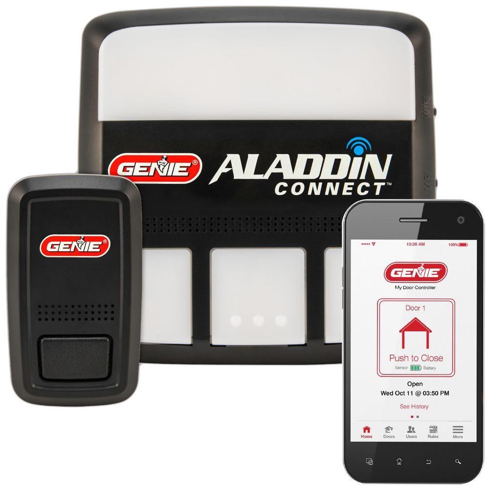 Genie Aladdin Connect Smartphone Enabled Garage Door Controller To Open And Monitor Your Door From Anywhere Alkt1 R In 2020 Smart Garage Door Opener Garage Doors Genie Aladdin