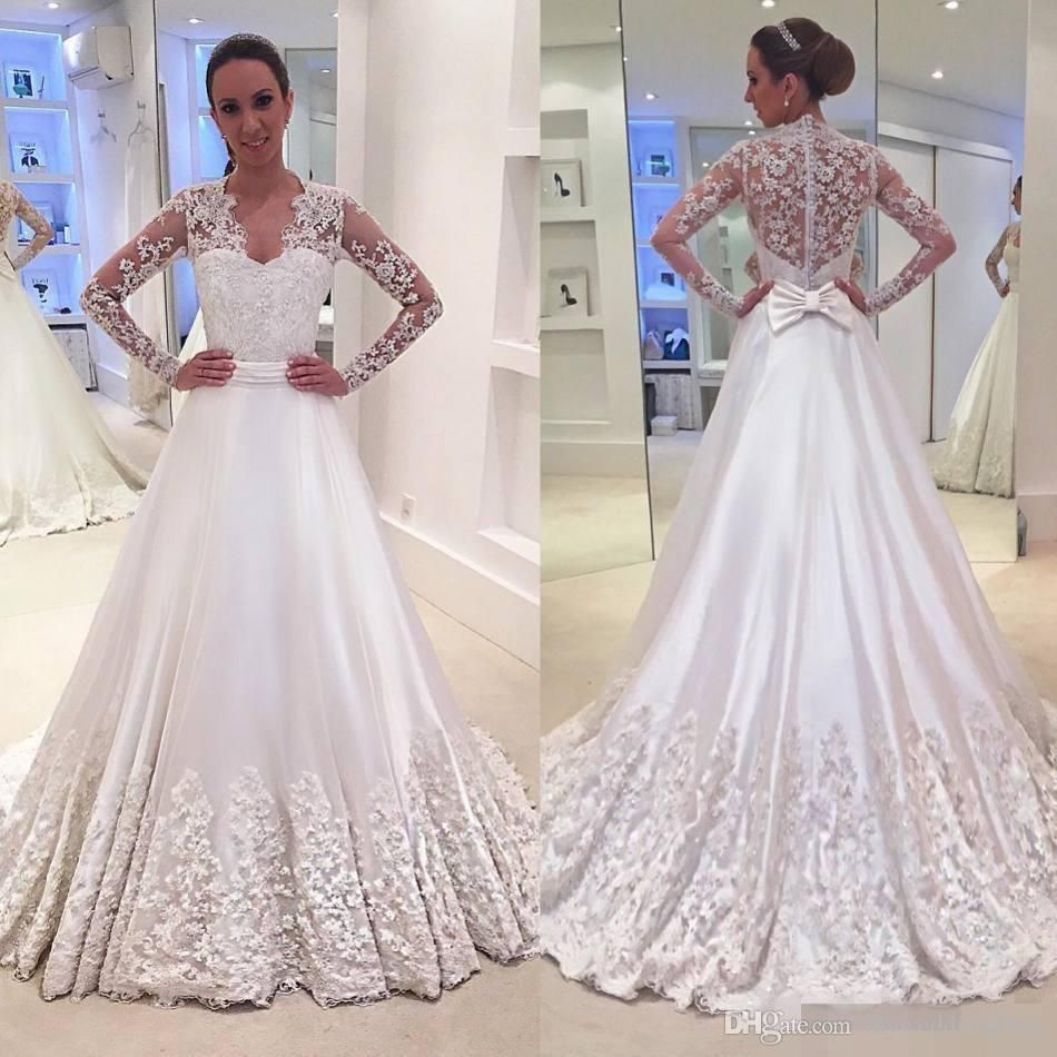 >> Click to Buy << 2017 Vintage Long Sleeves Wedding Dresses Bridal Gowns Illusion Bodice Deep V Neck Lace Appliques Court Train Country Style  #Affiliate