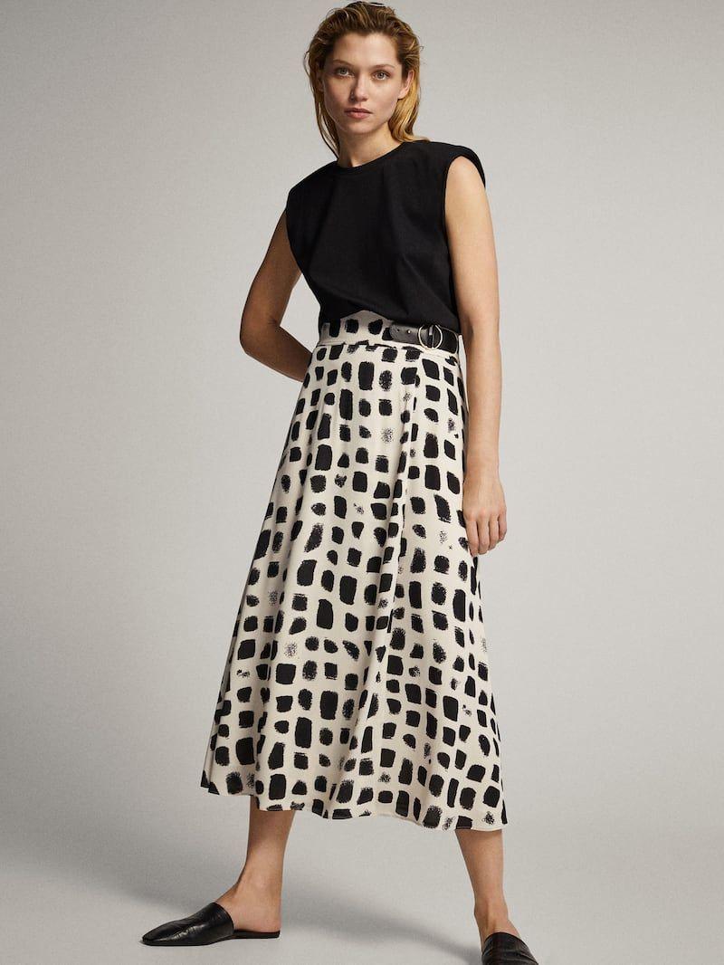 Two Tone Print Skirt Women Massimo Dutti Gehrock Damen Modestil Midikleider