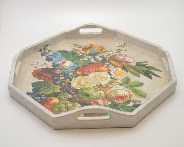 Handmade Tray Decoration Pleasing Wooden Decoupage Tray Shabby Chic Tray Flowers Still Life Design Inspiration