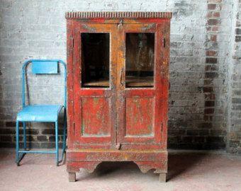 Red Cupboard Distressed Antique Indian Farm Chic Warm Industrial Kitchen Bathroom Cabinet Curio Boho Moroccan Decor