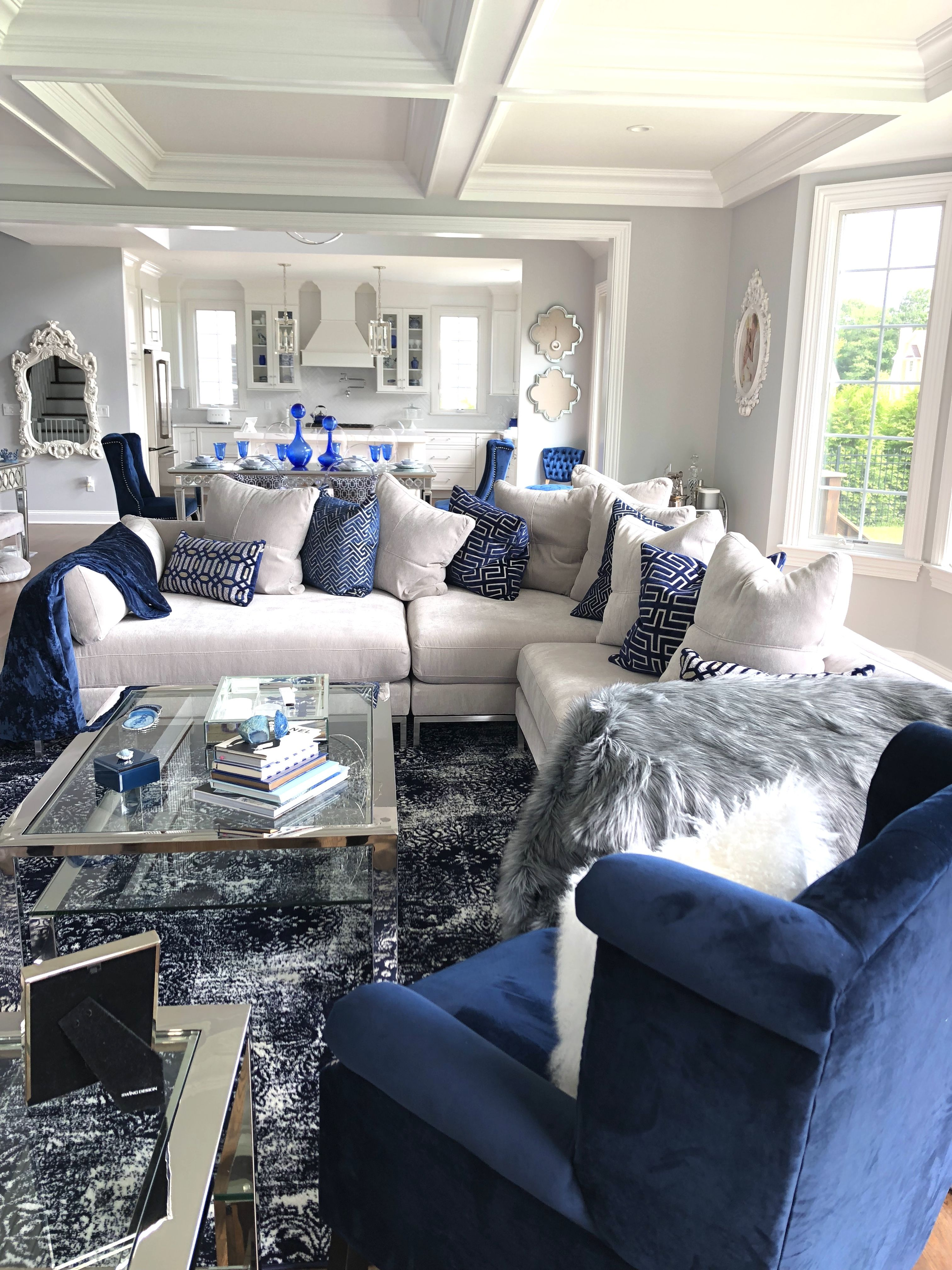 Sapphire And White Living Room Zgallerie Couch And Tables Blue