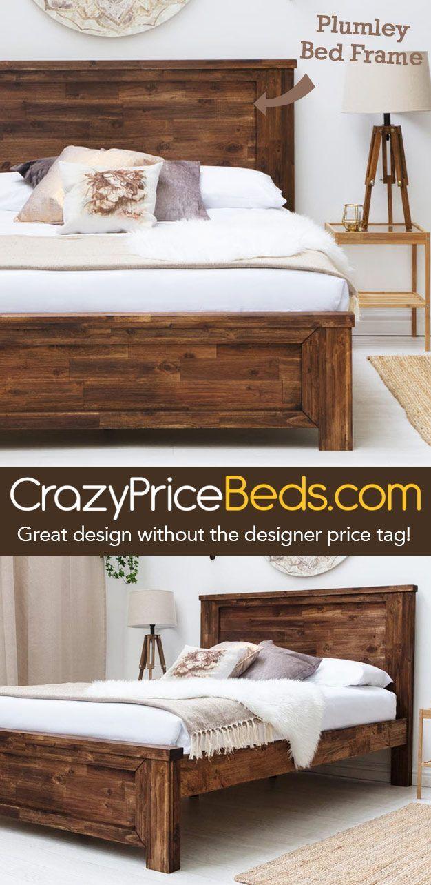 Plumley Rustic Teak Chunky Dark Wooden Farmhouse Bed Frame Double