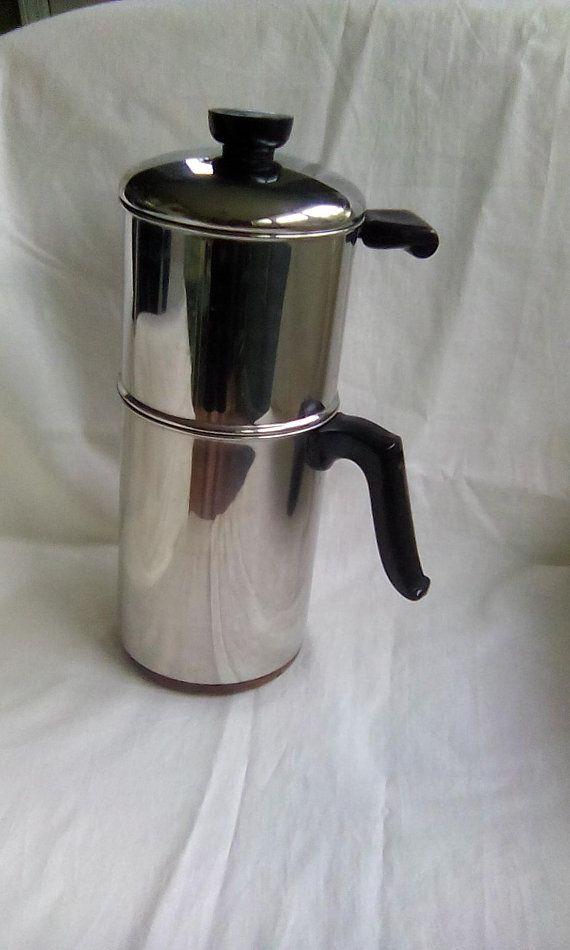 Revere Ware Coffee Pot 1801 Copper Bottom Maker Made In The Usa Stovetop