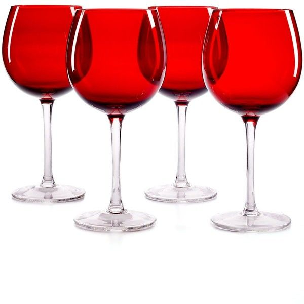 The Cellar Glware Set Of 4 Ruby Balloon Wine Gles 43
