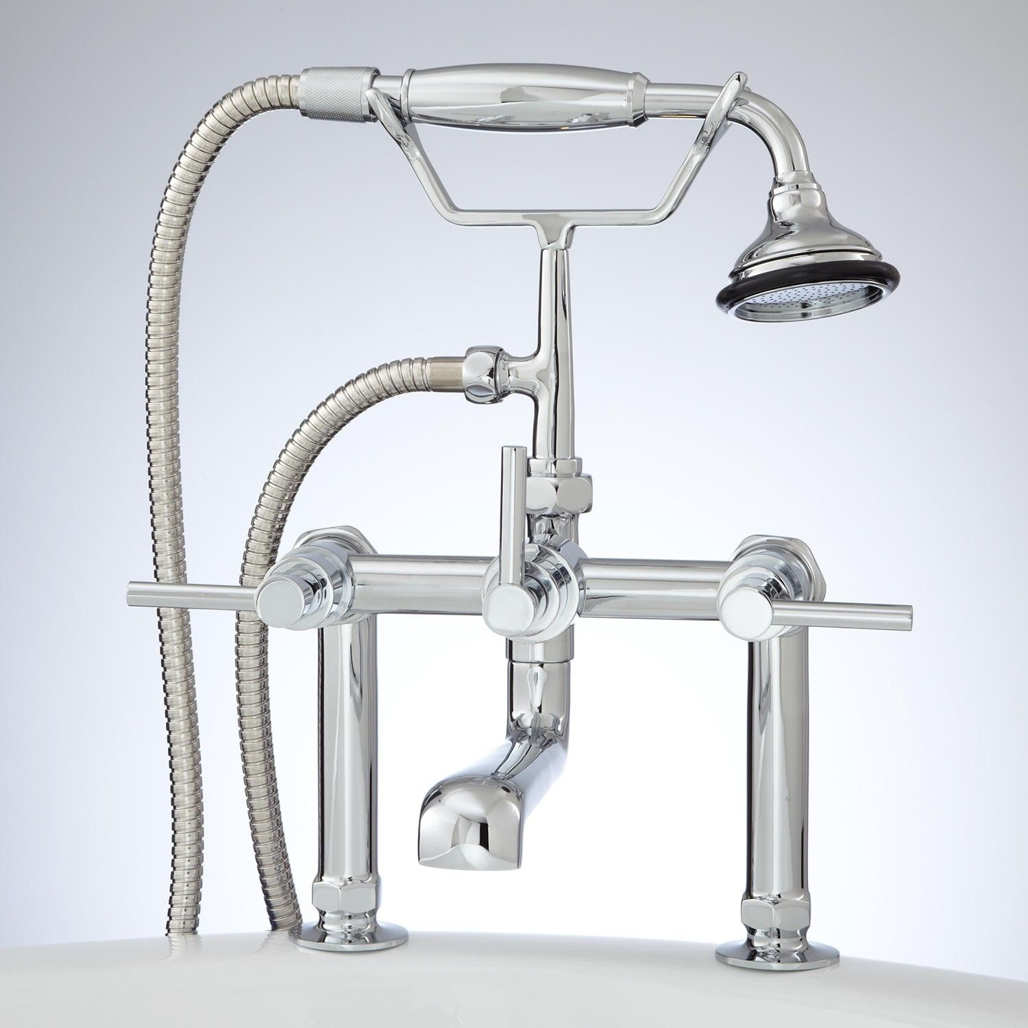 Contemporary Deck Mount Tub Faucet With Hand Shower Lever