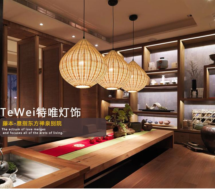 Simple Bamboo Rattan Lantern Pendant Lights Creative Dining Table