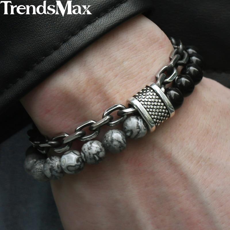 "Elastic Black Magnet Bracelet 7.8/""8mm chain Beads Link Charm Fashion Jewelry"
