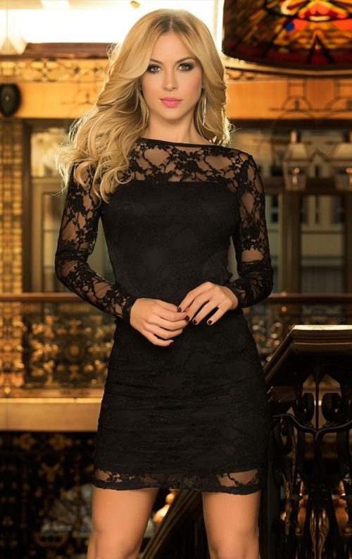Photo of Long sleeved dress with black lace detail # lace dress # dress #women #womens fashion …