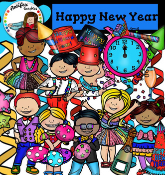 happy new year clip art colorful theme party
