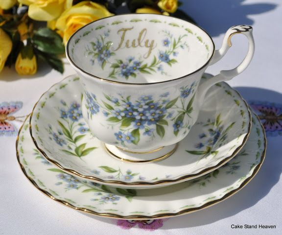 Royal Albert July 'Forget-Me-Not' Teacup, Saucer and Tea Plate
