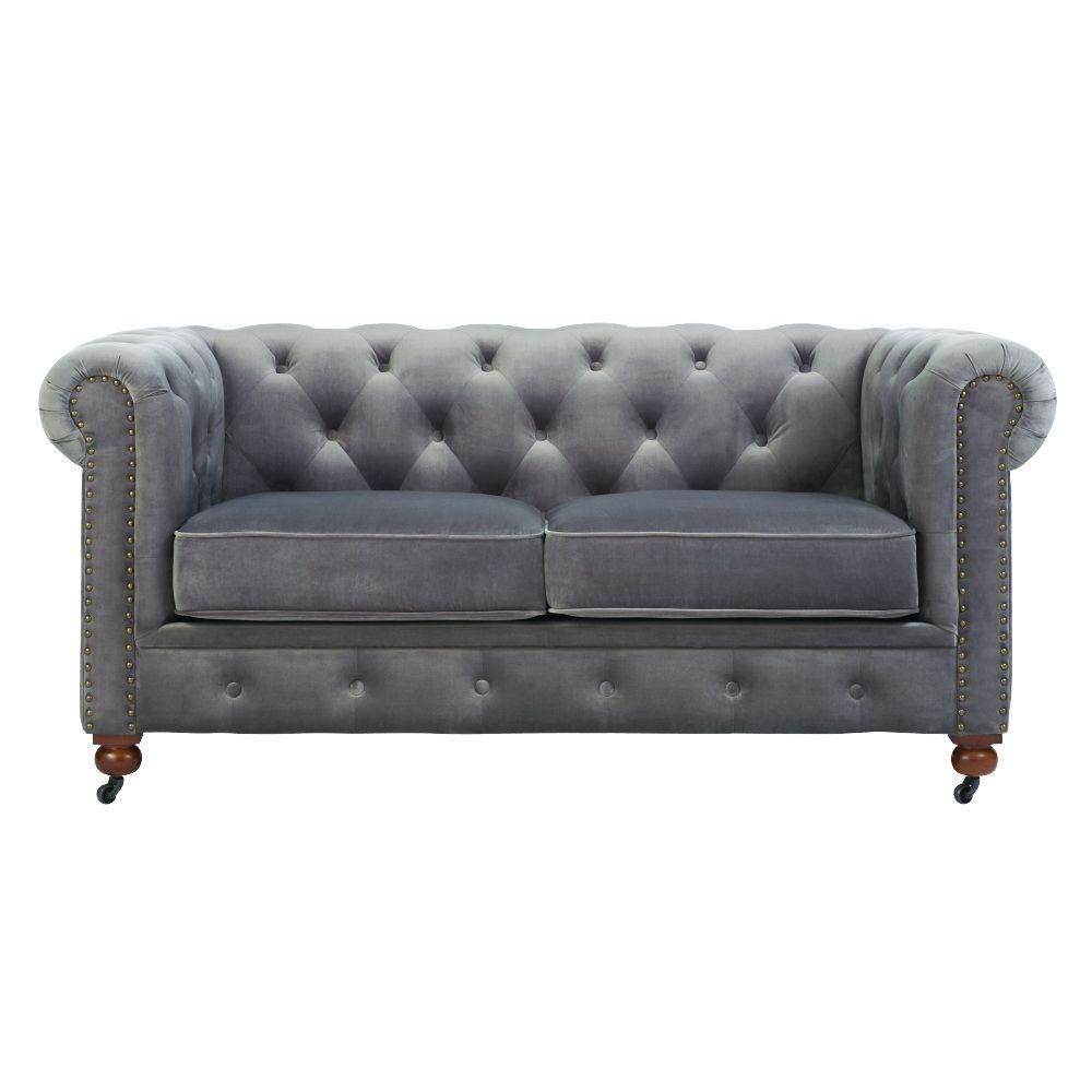 home decorators collection gordon grey velvet loveseat