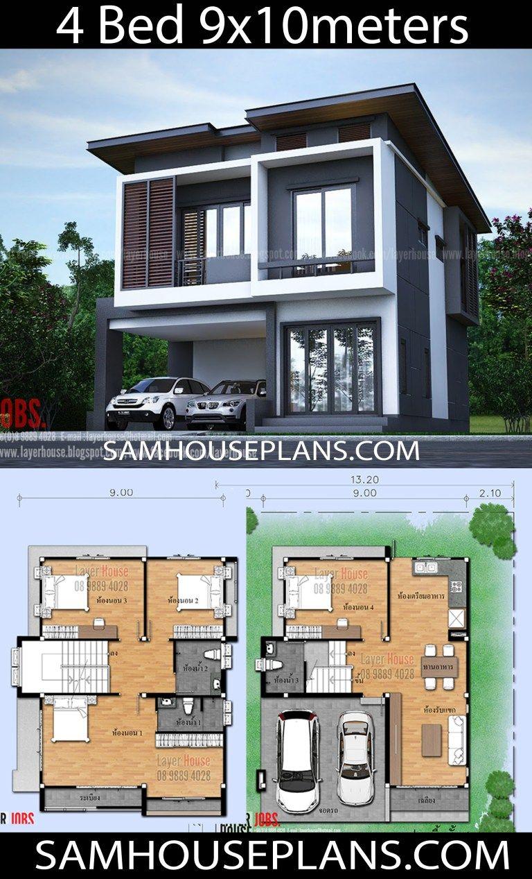 House Plans Idea 9x10m With 4 Bedrooms Sam House Plans Beautiful House Plans Modern Style House Plans Beach House Plans